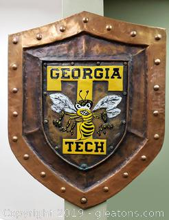 Georgia Tech Metal Copper Sheild Wall Art