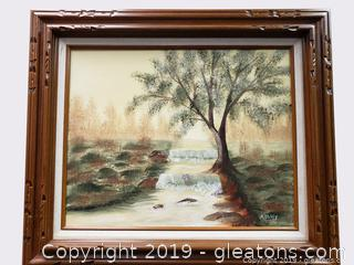 Farmhouse Vtg. Oil Painting Signed Wall Art