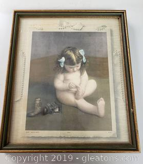 Vtg. Framed Wall Little Girl Art