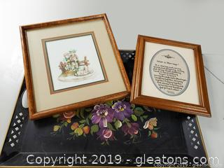 Hand Painted Large Floral Metal Tray And (2) Framed Pictures
