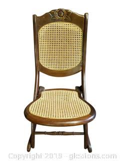 Vtg. Folding Canned Rocking Chair