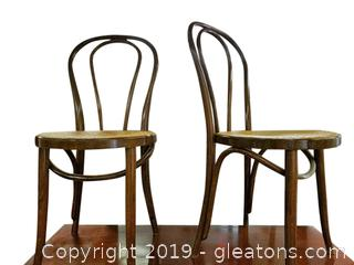 Set Of (2) Round Bottom Canned Cafe Chairs