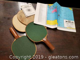 Vtg. Ping Pong Paddles And Wall Papper Map