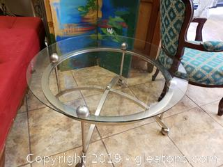 Mid Centry Round Metal Glass Top Coffee Table