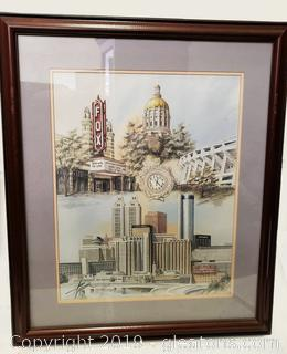 Framed Wooden Atlanta Fox Gone With The Wind Print