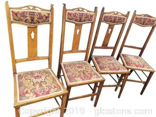 Set Of (4) Refurbished Antique English Country Dining Chairs