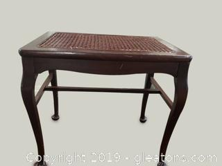 Rattan Top/Caned Small Accent Side Table