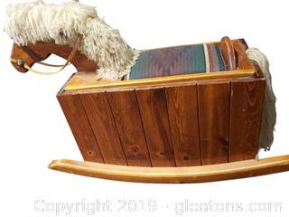 Vintage Wooden Rocking Horse Toy Box With Seat Covered