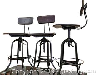 Set Of (3) Industrial Adjustible Swivel Bar Stools