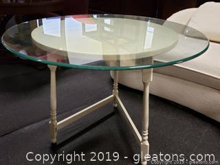 Vtg. White Washed Round Wooden Table With Heavy Glass Top
