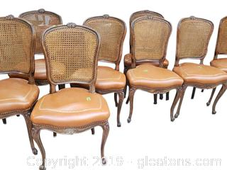 Set Of (8) French Country Caned Back Dining Chairs