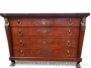 "Beautifully Exquisite Made Empire ""Henerdon"" Marble Top (4) Drawer Chest"