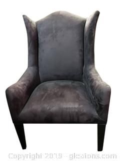 Modern Dark Grey Micro Fiber Wide Wing Back Chair