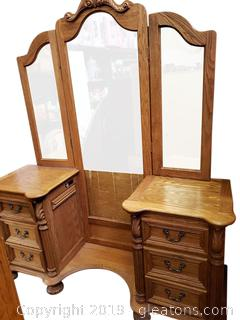 """Modern Charming """"Bent Wood"""" Vanity With Missing Middle Mirrors"""