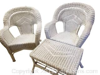 Set Of (2) White Wicker Chairs With Side Table