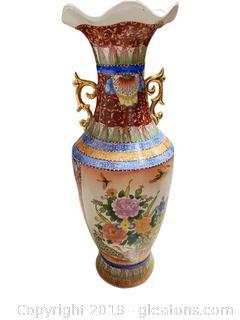 Hand Painted Floral Oriental URN Vase