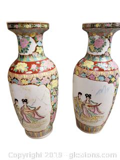 Antique Chinese Large PR Famille-Rose Vases