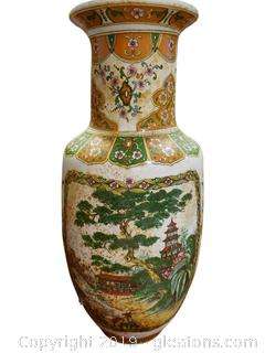 Vintage Chinese Pale Yellow And Orange Floral With Oriental Houses