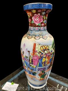 Large Oriental Vintage Famille Rose Vase