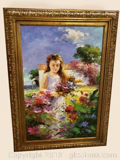 Original Oil Painting Of Young Girl In Flower Garden