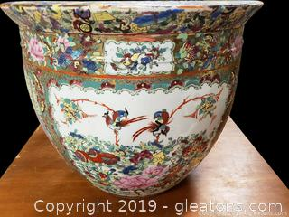 Vintage Chinese Rose And Bird Print Fish Bowl