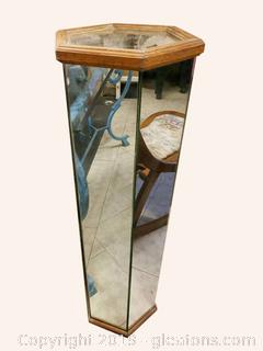 Vintage Glass And Wood Plant Stand