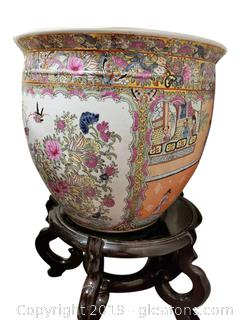 Vintage Chinese Rose Famille Fish Bowl
