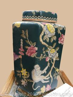 Vntg. Jar Vase Hand Painted Lidded Urn