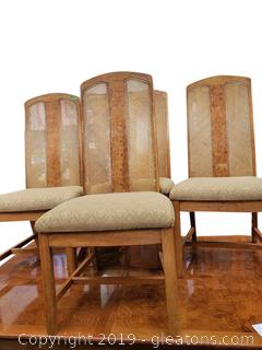 Mid Centry Weaved Rattan Back Covered Dining Chairs