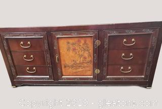 """""""Bernhardt"""" Hand Carved Painted Large Dresser"""