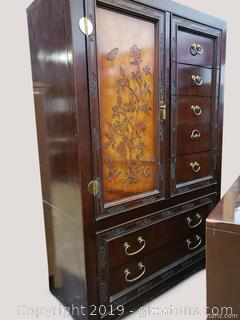 """Bernhardt"" Oriental Chest Of Drawers Armoire"