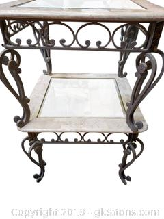 Modern Pr Of Mid Centry Wrought Iron End Tables