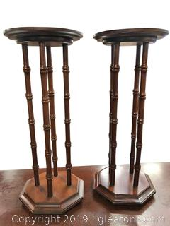Vintage Pair Of Solid Wood Plant Stands