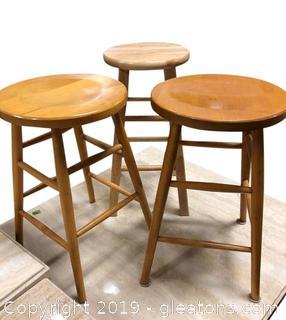 Three Wooden Bar Stool