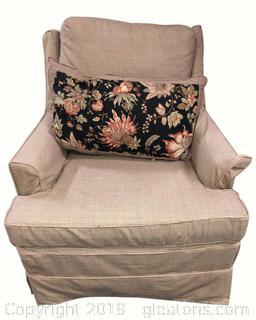 Custom Small Skirted Plaid Accent Club Chair