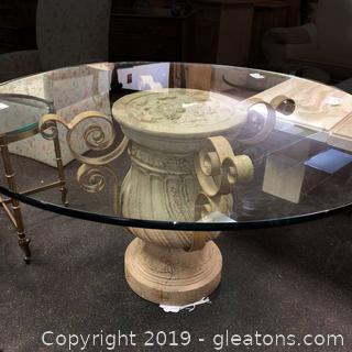 Pedestal Glass Top Dining Table