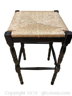 Tall Wood And Rattan Barstool