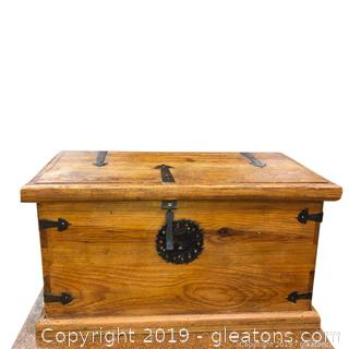 Solid Wood Chest With Detailed Hardware