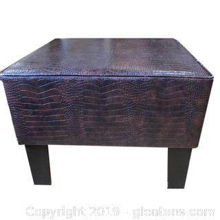 Alligator Leather And Wood Ottoman