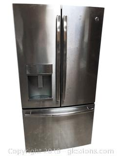 Stainless GE Steel Double Door Refrigerator Freezer