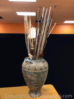 Large Pottery Urn With Bamboo And Paper Flowers And Sticks