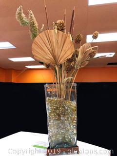 Metal And Glass Vase With Wood Arrangement Of Flowers