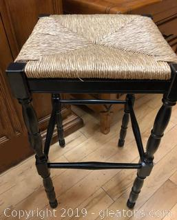 Tall Wood And Rattan Bar Stool