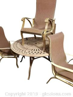 Round Metal Outdoor Table And (4) Chairs
