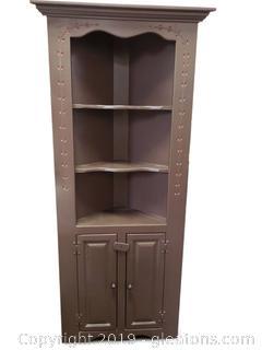Vtg Wooden Painted Corner Cabinet