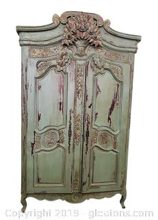 Antique Distressed Hand Carved Armoire