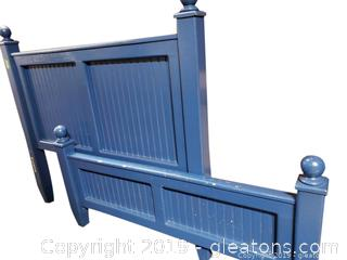 Solid Wood Painted Blue Head And Foot Board With Slats