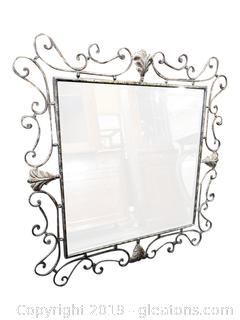 Large Scroll Metal Beveled Mirror