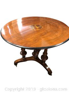 Beautiful Antique Inlaid Round Table
