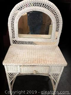 Wicker Vanity And Mirror